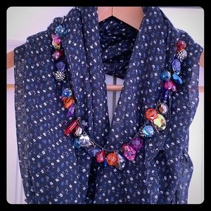 GAP Infinity Scarf Navy with Flowers